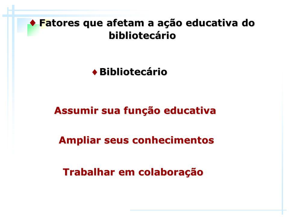 ♦ Bibliotecário ♦ Fatores que afetam a ação educativa do bibliotecário Trabalhar em colaboração Assumir sua função educativa Ampliar seus conhecimento