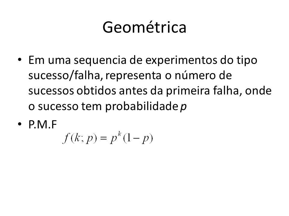 Geométrica Em uma sequencia de experimentos do tipo sucesso/falha, representa o número de sucessos obtidos antes da primeira falha, onde o sucesso tem