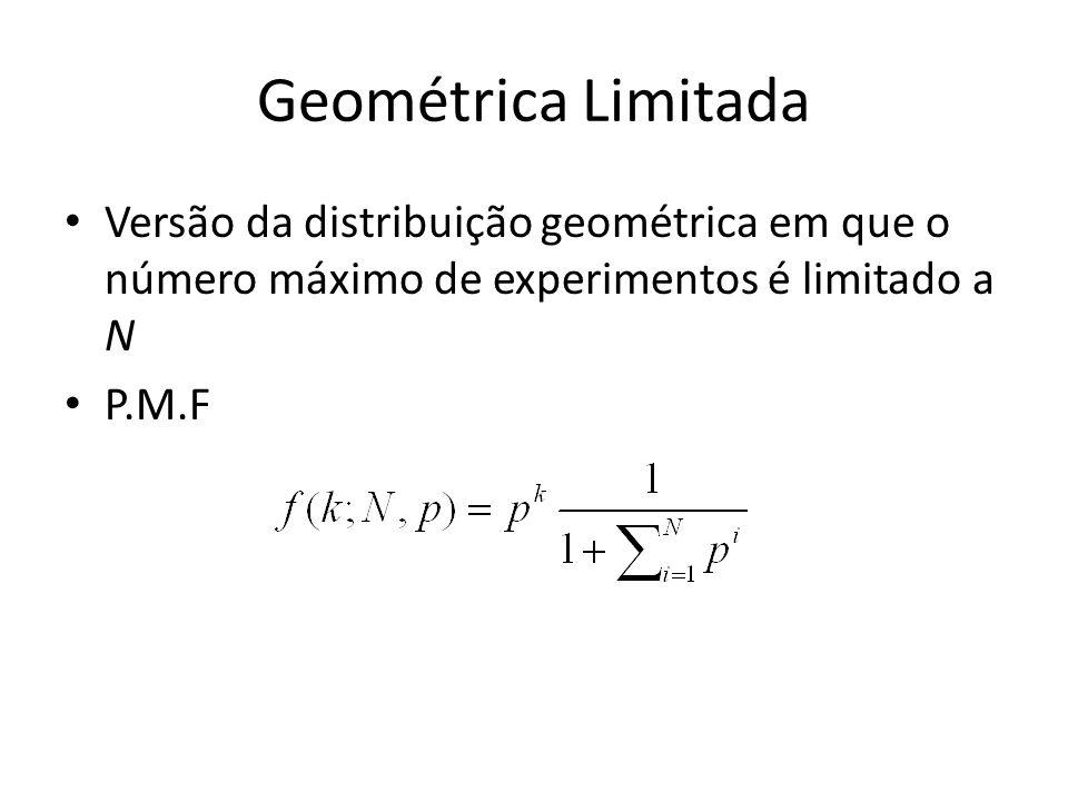 Geométrica Limitada Versão da distribuição geométrica em que o número máximo de experimentos é limitado a N P.M.F