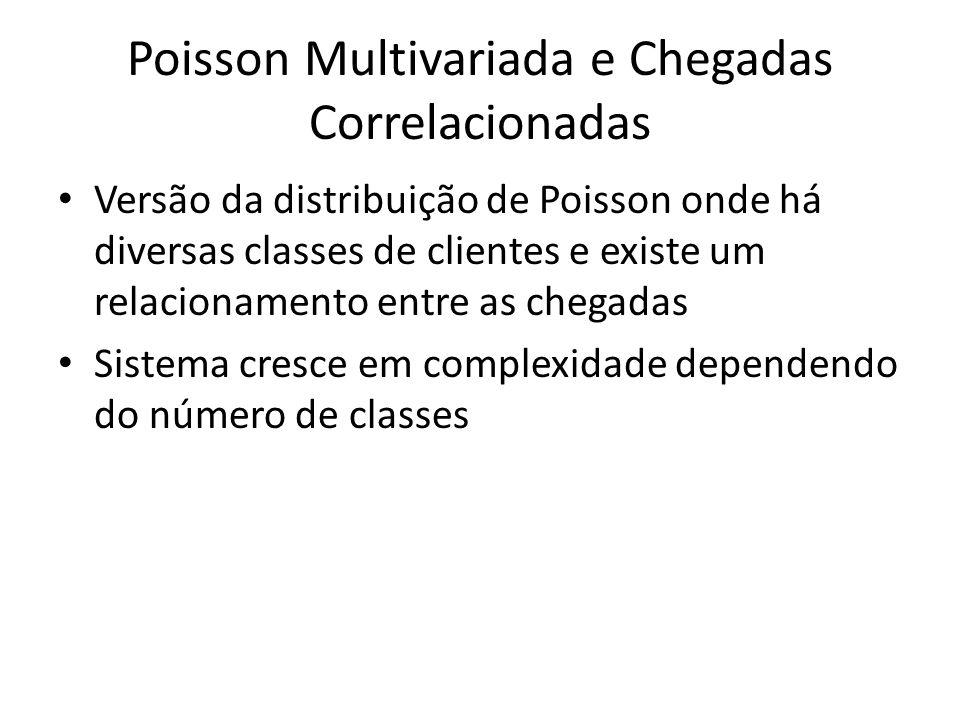 Poisson Multivariada e Chegadas Correlacionadas Versão da distribuição de Poisson onde há diversas classes de clientes e existe um relacionamento entr