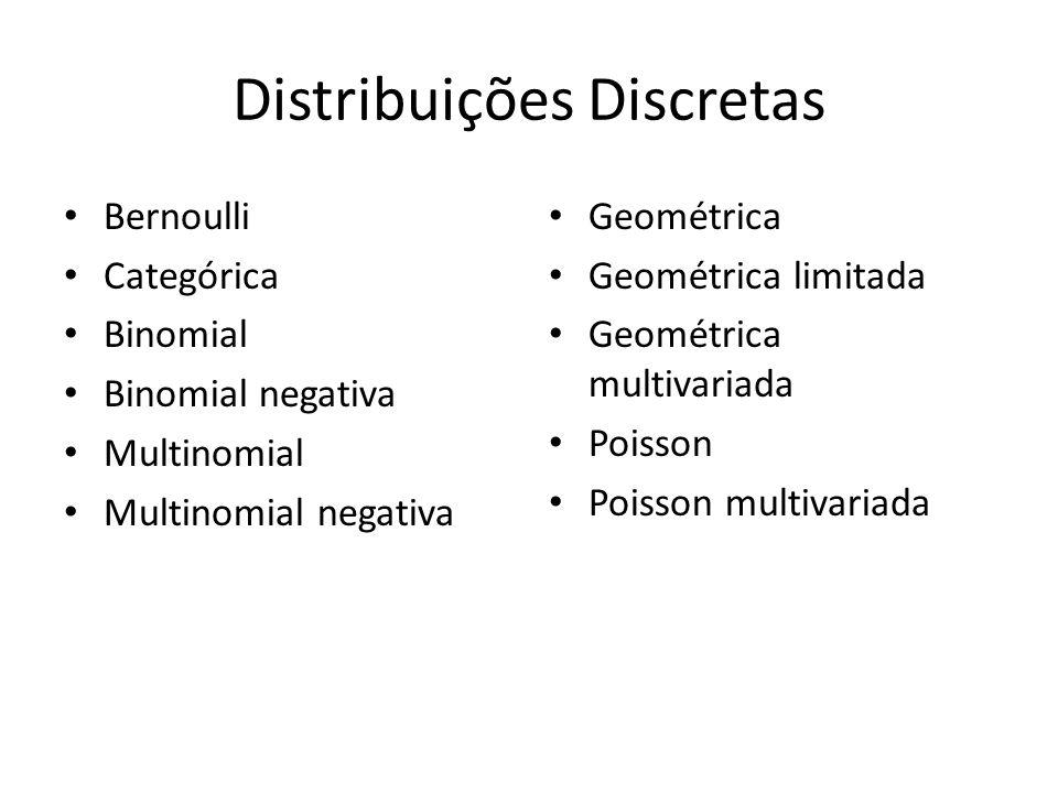 Distribuições Discretas Bernoulli Categórica Binomial Binomial negativa Multinomial Multinomial negativa Geométrica Geométrica limitada Geométrica multivariada Poisson Poisson multivariada