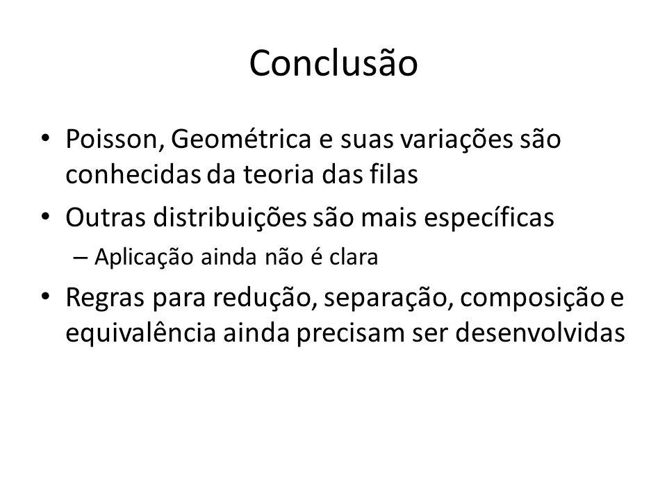 Conclusão Poisson, Geométrica e suas variações são conhecidas da teoria das filas Outras distribuições são mais específicas – Aplicação ainda não é clara Regras para redução, separação, composição e equivalência ainda precisam ser desenvolvidas