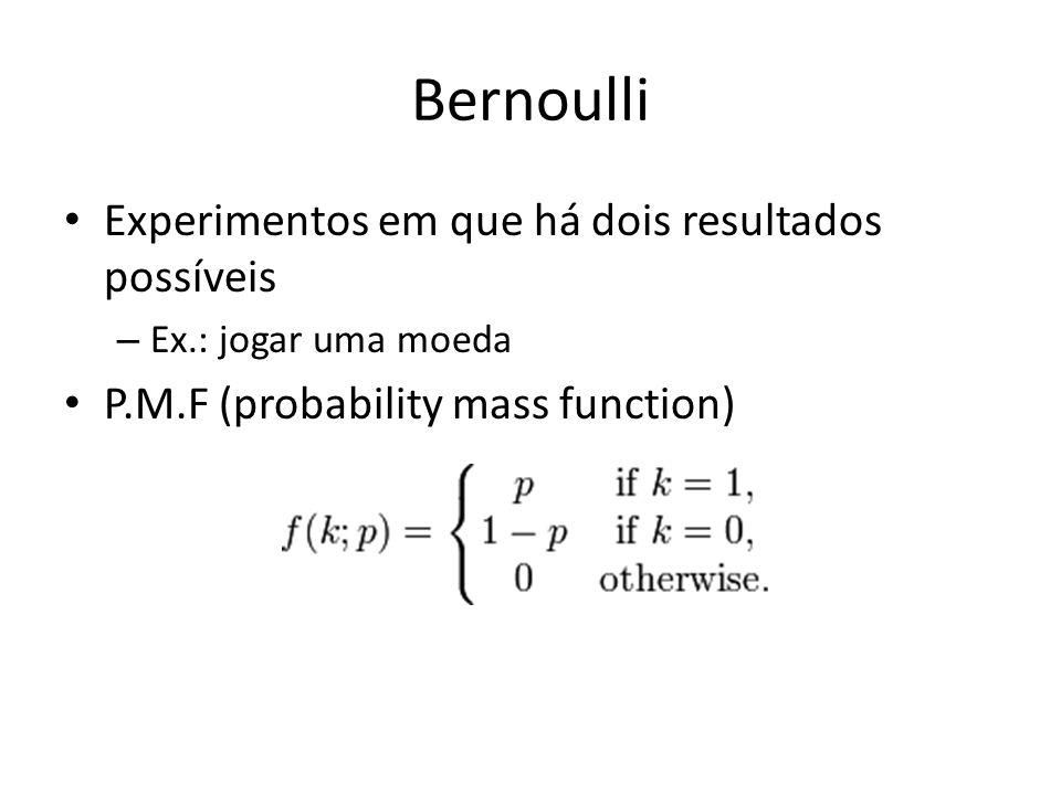 Bernoulli Experimentos em que há dois resultados possíveis – Ex.: jogar uma moeda P.M.F (probability mass function)