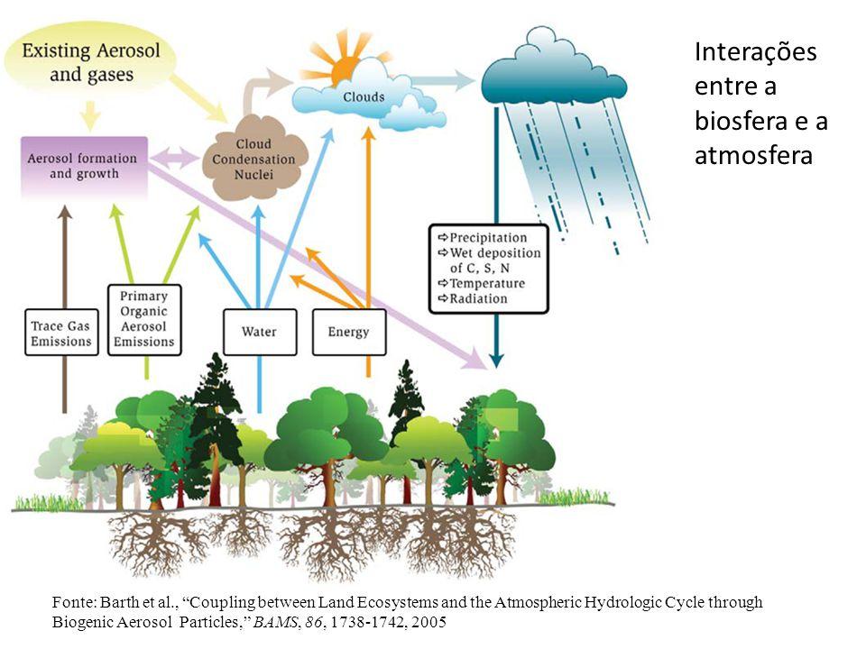 Fonte: Barth et al., Coupling between Land Ecosystems and the Atmospheric Hydrologic Cycle through Biogenic Aerosol Particles, BAMS, 86, 1738-1742, 2005 Interações entre a biosfera e a atmosfera