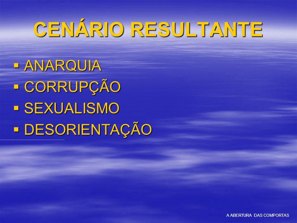 CENÁRIO RESULTANTE  ANARQUIA  CORRUPÇÃO  SEXUALISMO  DESORIENTAÇÃO A ABERTURA DAS COMPORTAS