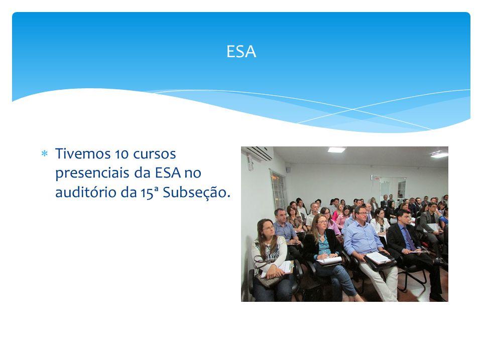 ESA  Tivemos 10 cursos presenciais da ESA no auditório da 15ª Subseção.