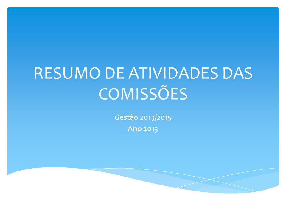 RESUMO DE ATIVIDADES DAS COMISSÕES Gestão 2013/2015 Ano 2013