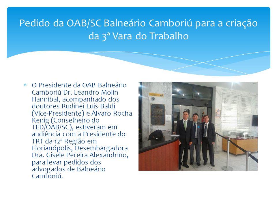 Pedido da OAB/SC Balneário Camboriú para a criação da 3ª Vara do Trabalho  O Presidente da OAB Balneário Camboriú Dr. Leandro Molin Hannibal, acompan