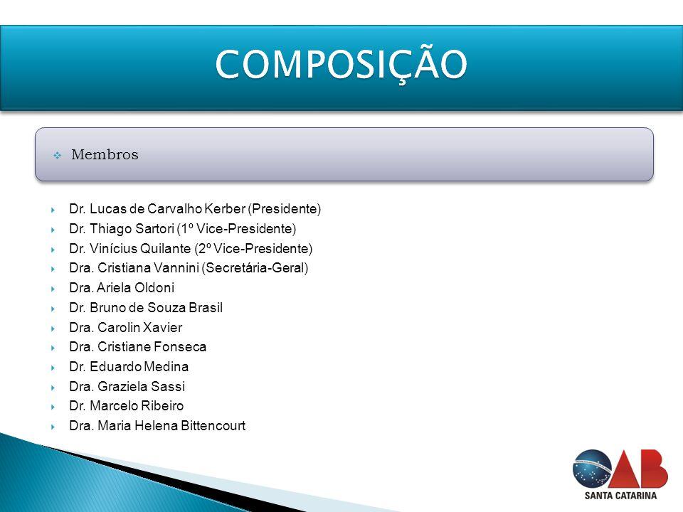  Dr. Lucas de Carvalho Kerber (Presidente)  Dr. Thiago Sartori (1º Vice-Presidente)  Dr. Vinícius Quilante (2º Vice-Presidente)  Dra. Cristiana Va