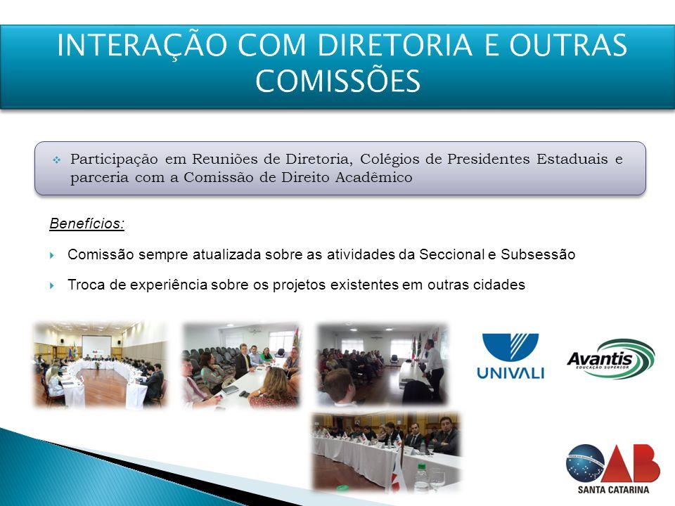Benefícios:  Comissão sempre atualizada sobre as atividades da Seccional e Subsessão  Troca de experiência sobre os projetos existentes em outras ci