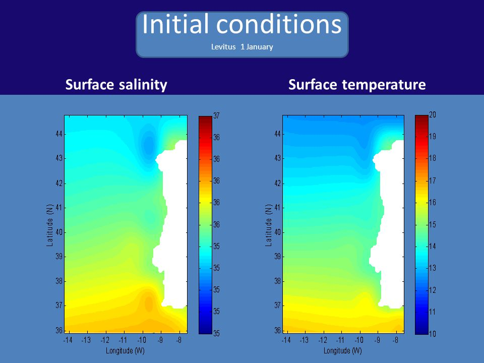 Initial conditions Levitus 1 January Surface salinitySurface temperature