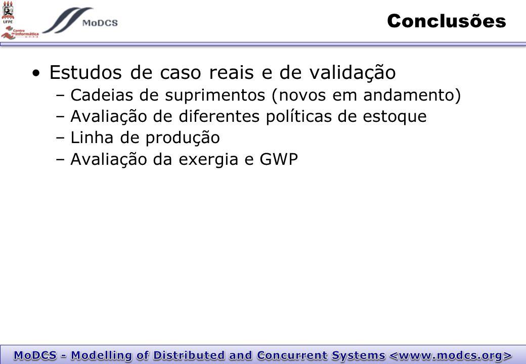 Conclusões Estudos de caso reais e de validação –Cadeias de suprimentos (novos em andamento) –Avaliação de diferentes políticas de estoque –Linha de produção –Avaliação da exergia e GWP