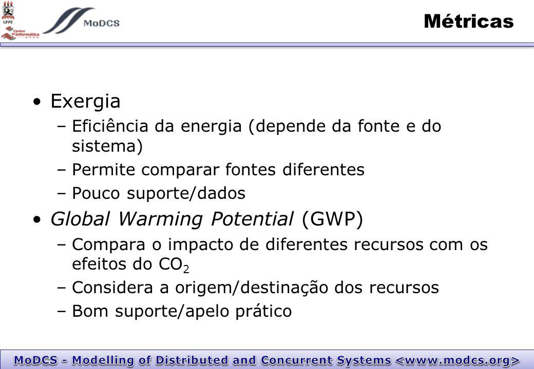 Métricas Exergia –Eficiência da energia (depende da fonte e do sistema) –Permite comparar fontes diferentes –Pouco suporte/dados Global Warming Potential (GWP) –Compara o impacto de diferentes recursos com os efeitos do CO 2 –Considera a origem/destinação dos recursos –Bom suporte/apelo prático