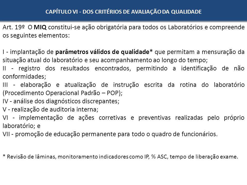 CAPÍTULO VI - DOS CRITÉRIOS DE AVALIAÇÃO DA QUALIDADE Art. 19º O MIQ constitui-se ação obrigatória para todos os Laboratórios e compreende os seguinte