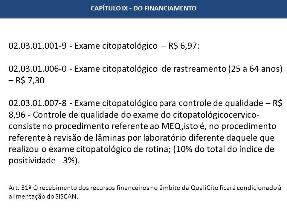 CAPÍTULO IX - DO FINANCIAMENTO 02.03.01.001-9 - Exame citopatológico – R$ 6,97: 02.03.01.006-0 - Exame citopatológico de rastreamento (25 a 64 anos) –