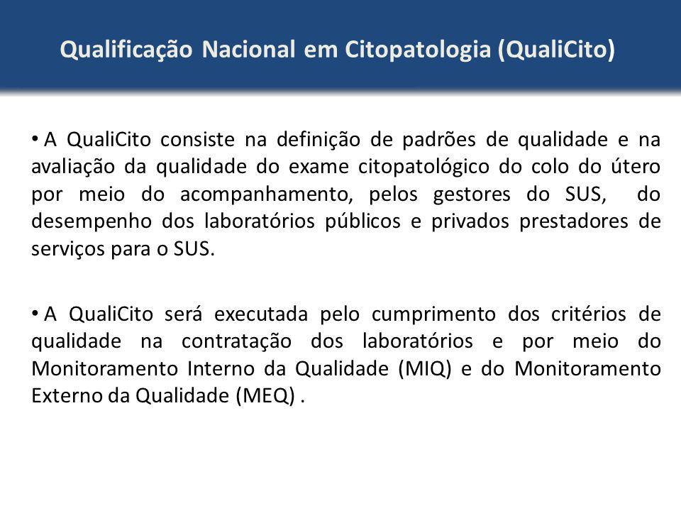 Qualificação Nacional em Citopatologia (QualiCito) A QualiCito consiste na definição de padrões de qualidade e na avaliação da qualidade do exame cito