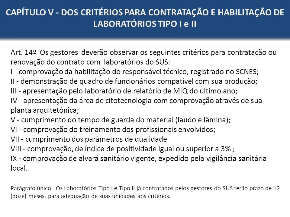 Art. 14º Os gestores deverão observar os seguintes critérios para contratação ou renovação do contrato com laboratórios do SUS: I - comprovação da hab