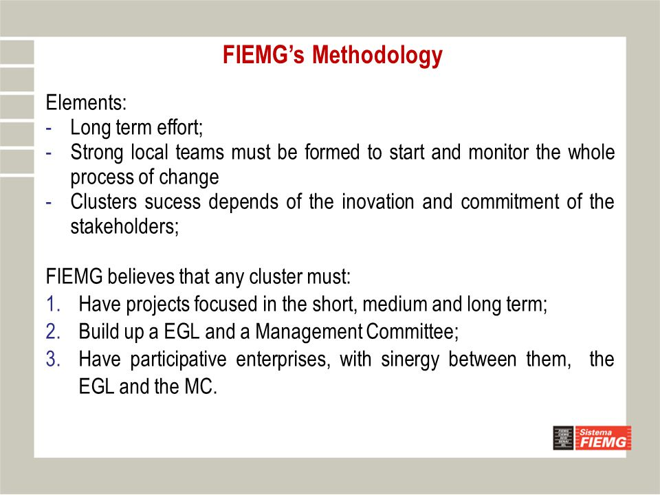 Elements: -Long term effort; -Strong local teams must be formed to start and monitor the whole process of change -Clusters sucess depends of the inovation and commitment of the stakeholders; FIEMG believes that any cluster must: 1.Have projects focused in the short, medium and long term; 2.Build up a EGL and a Management Committee; 3.Have participative enterprises, with sinergy between them, the EGL and the MC.