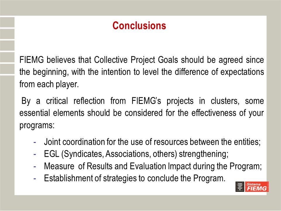 Conclusions FIEMG believes that Collective Project Goals should be agreed since the beginning, with the intention to level the difference of expectati