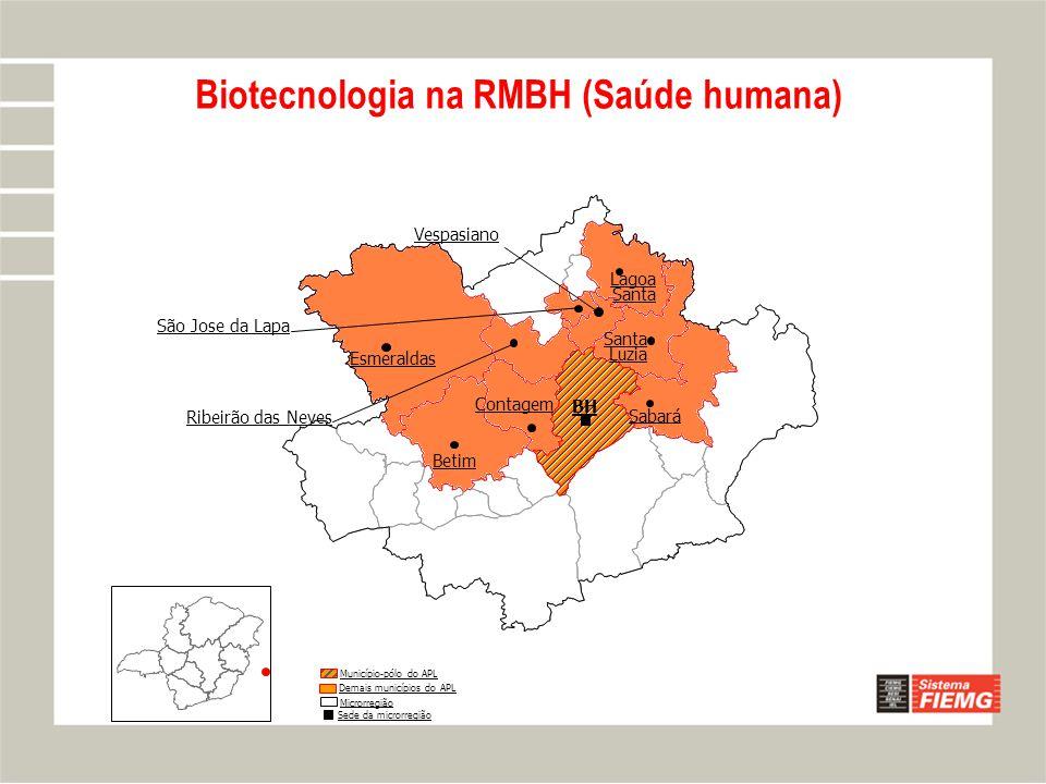 Biotecnologia na RMBH (Saúde humana) Lagoa Santa Sabará Vespasiano Betim BH Ribeirão das Neves Contagem Santa Luzia São Jose da Lapa Município-pólo do APL Demais municípios do APL Microrregião Sede da microrregião Esmeraldas