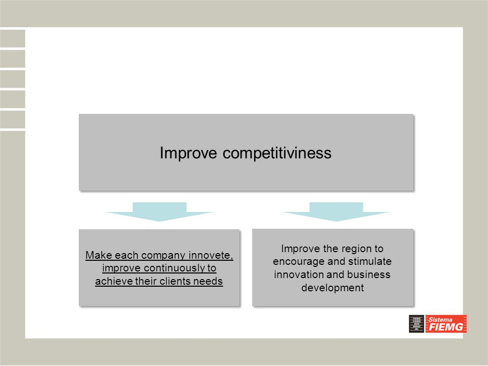 Improve competitiviness Improve the region to encourage and stimulate innovation and business development Make each company innovete, improve continuo