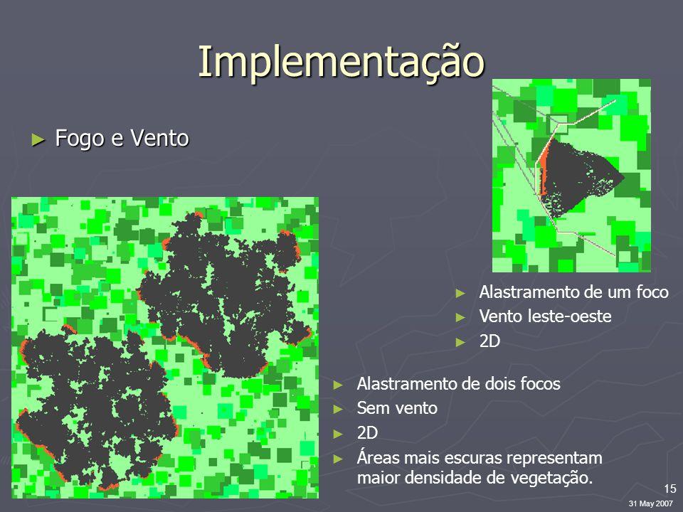15 31 May 2007 Implementação ► Fogo e Vento ► Alastramento de dois focos ► Sem vento ► 2D ► Áreas mais escuras representam maior densidade de vegetação.
