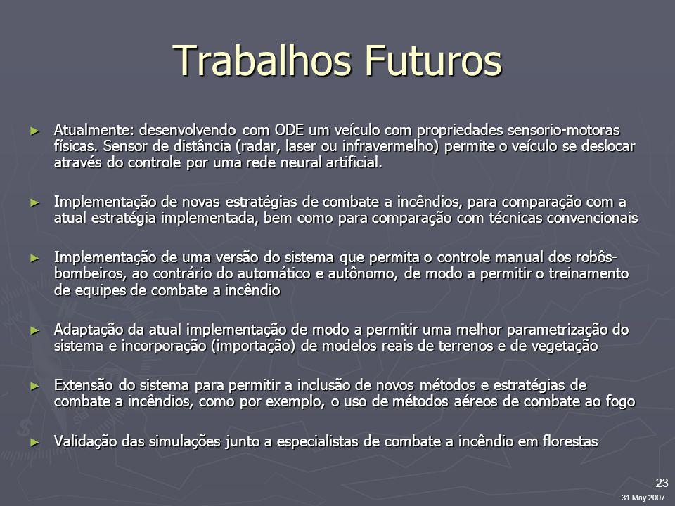 23 31 May 2007 Trabalhos Futuros ► Atualmente: desenvolvendo com ODE um veículo com propriedades sensorio-motoras físicas.