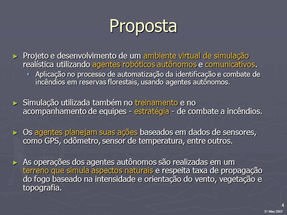 4 31 May 2007 Proposta ► Projeto e desenvolvimento de um ambiente virtual de simulação realística utilizando agentes robóticos autônomos e comunicativ