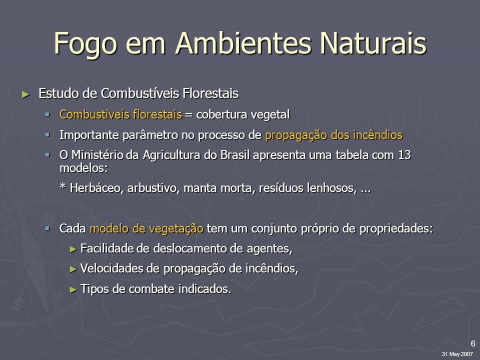 6 31 May 2007 Fogo em Ambientes Naturais ► Estudo de Combustíveis Florestais  Combustíveis florestais = cobertura vegetal  Importante parâmetro no p