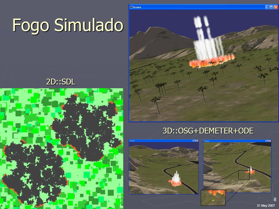 8 31 May 2007 Fogo Simulado 2D::SDL 3D::OSG+DEMETER+ODE
