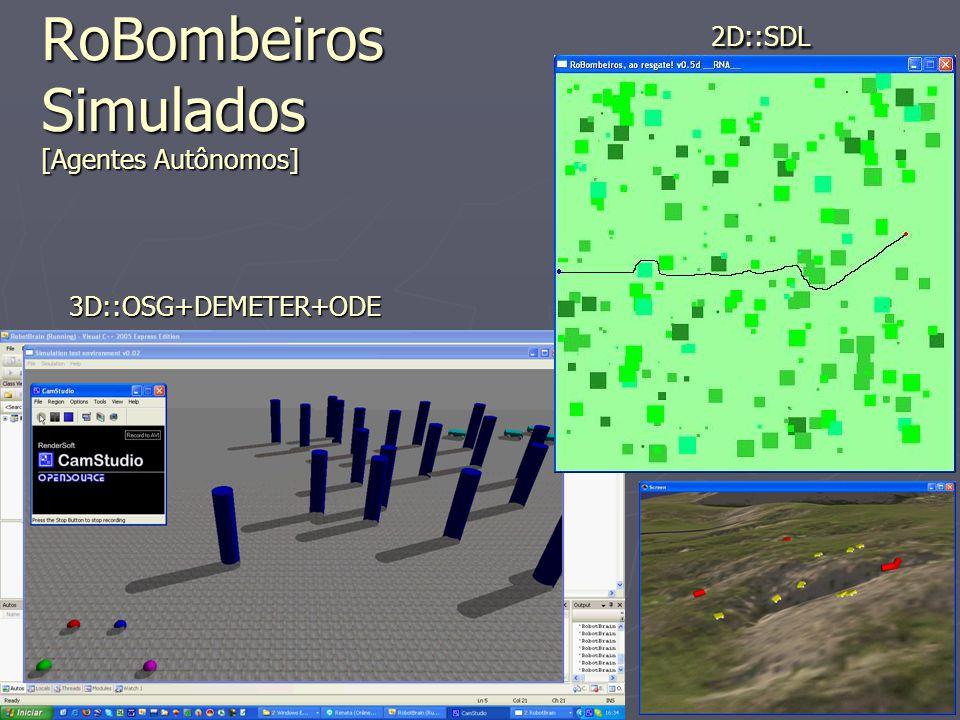 9 31 May 2007 RoBombeiros Simulados [Agentes Autônomos] 2D::SDL 3D::OSG+DEMETER+ODE