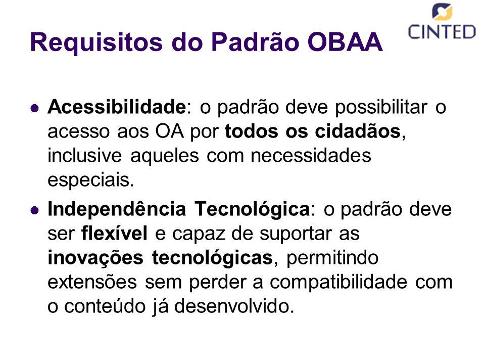 Requisitos do Padrão OBAA Acessibilidade: o padrão deve possibilitar o acesso aos OA por todos os cidadãos, inclusive aqueles com necessidades especiais.