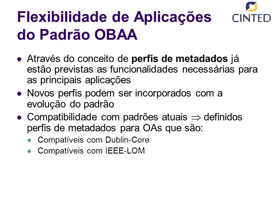 Flexibilidade de Aplicações do Padrão OBAA Através do conceito de perfis de metadados já estão previstas as funcionalidades necessárias para as principais aplicações Novos perfis podem ser incorporados com a evolução do padrão Compatibilidade com padrões atuais  definidos perfis de metadados para OAs que são: Compatíveis com Dublin-Core Compatíveis com IEEE-LOM