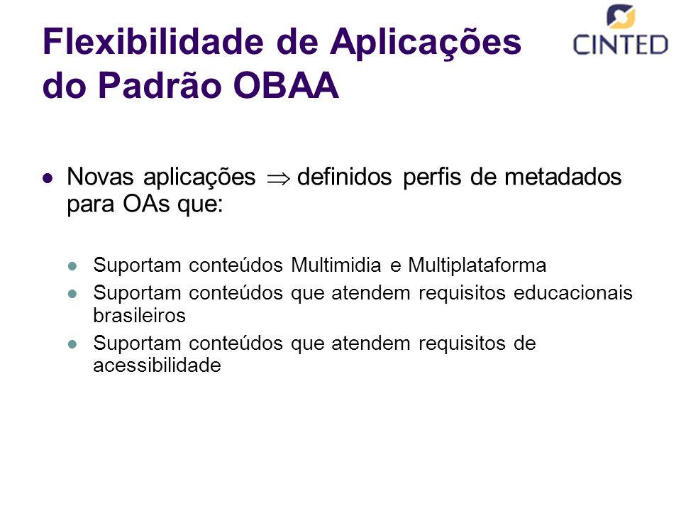 Flexibilidade de Aplicações do Padrão OBAA Novas aplicações  definidos perfis de metadados para OAs que: Suportam conteúdos Multimidia e Multiplataforma Suportam conteúdos que atendem requisitos educacionais brasileiros Suportam conteúdos que atendem requisitos de acessibilidade
