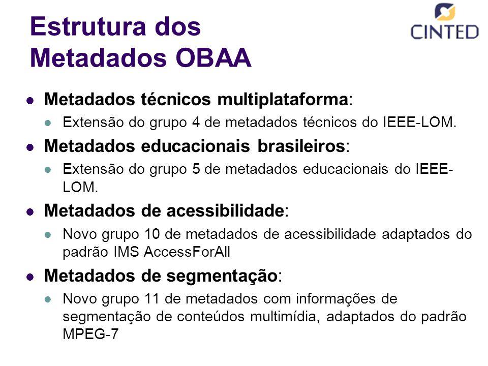 Estrutura dos Metadados OBAA Metadados técnicos multiplataforma: Extensão do grupo 4 de metadados técnicos do IEEE-LOM. Metadados educacionais brasile