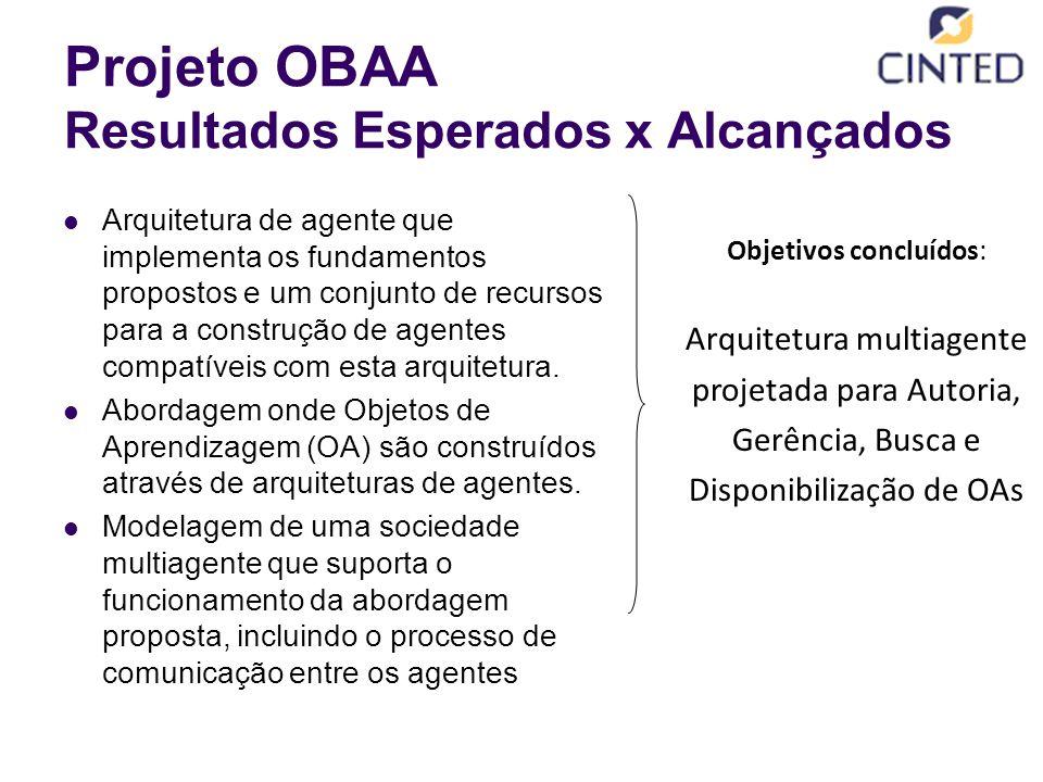 Projeto OBAA Resultados Esperados x Alcançados Arquitetura de agente que implementa os fundamentos propostos e um conjunto de recursos para a construção de agentes compatíveis com esta arquitetura.
