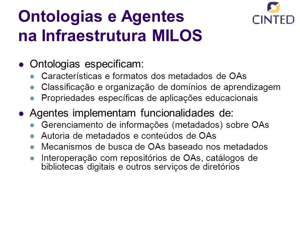 Ontologias e Agentes na Infraestrutura MILOS Ontologias especificam: Características e formatos dos metadados de OAs Classificação e organização de domínios de aprendizagem Propriedades específicas de aplicações educacionais Agentes implementam funcionalidades de: Gerenciamento de informações (metadados) sobre OAs Autoria de metadados e conteúdos de OAs Mecanismos de busca de OAs baseado nos metadados Interoperação com repositórios de OAs, catálogos de bibliotecas digitais e outros serviços de diretórios