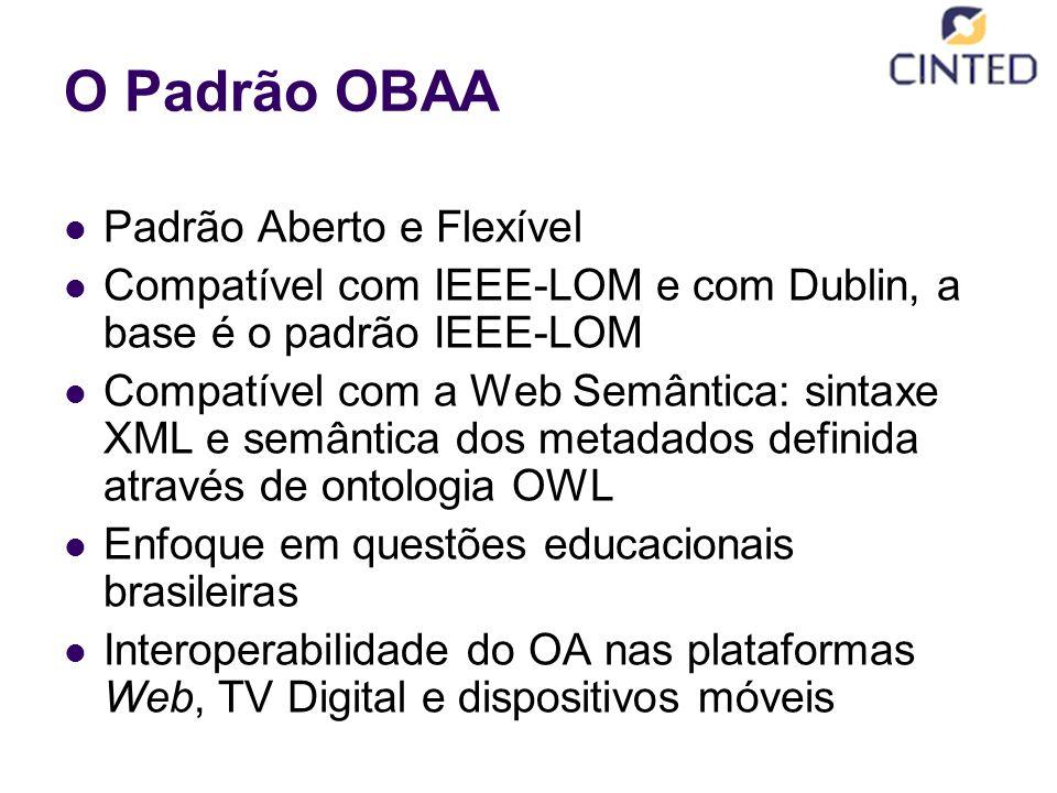 O Padrão OBAA Padrão Aberto e Flexível Compatível com IEEE-LOM e com Dublin, a base é o padrão IEEE-LOM Compatível com a Web Semântica: sintaxe XML e semântica dos metadados definida através de ontologia OWL Enfoque em questões educacionais brasileiras Interoperabilidade do OA nas plataformas Web, TV Digital e dispositivos móveis