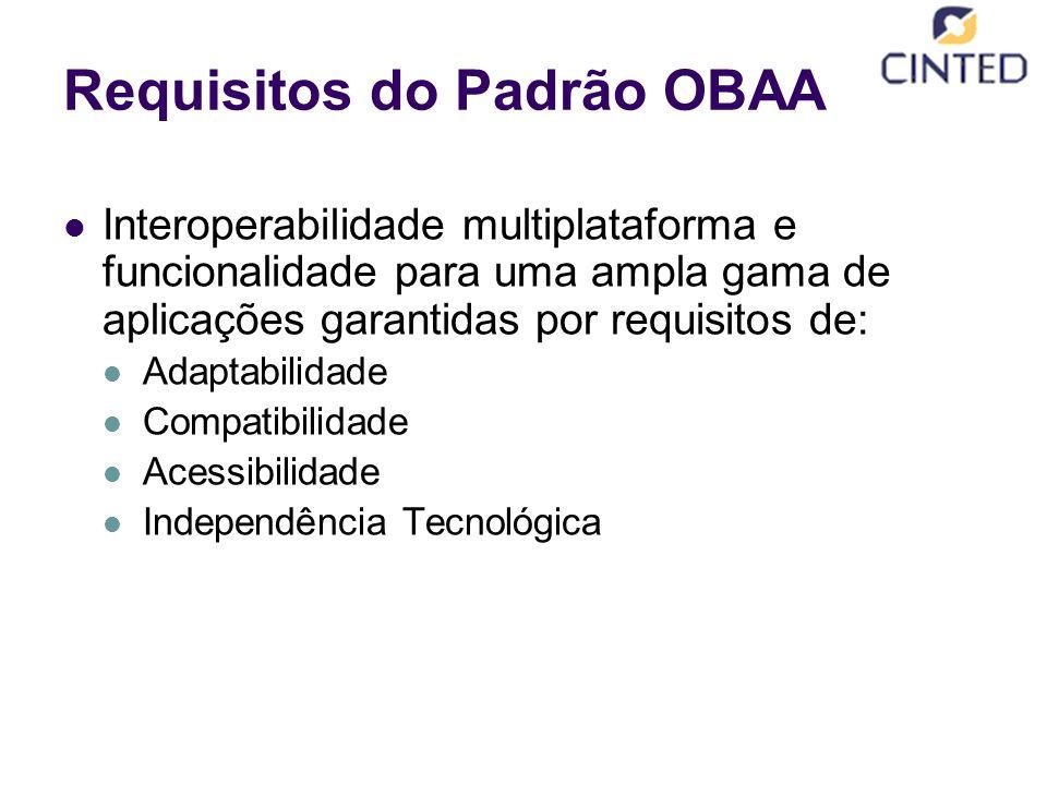 Requisitos do Padrão OBAA Interoperabilidade multiplataforma e funcionalidade para uma ampla gama de aplicações garantidas por requisitos de: Adaptabilidade Compatibilidade Acessibilidade Independência Tecnológica
