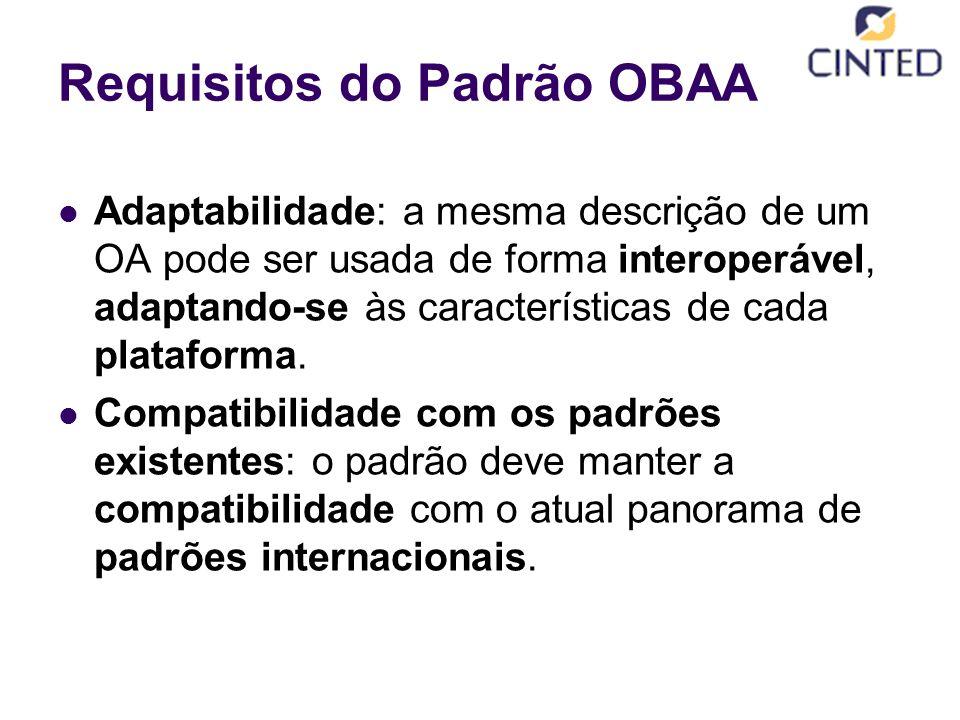 Requisitos do Padrão OBAA Adaptabilidade: a mesma descrição de um OA pode ser usada de forma interoperável, adaptando-se às características de cada plataforma.