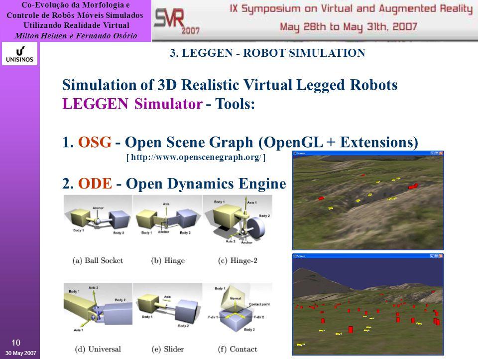Co-Evolução da Morfologia e Controle de Robôs Móveis Simulados Utilizando Realidade Virtual Milton Heinen e Fernando Osório 30 May 2007 10 3.