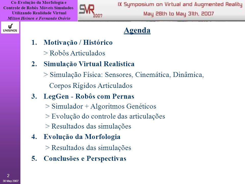 Co-Evolução da Morfologia e Controle de Robôs Móveis Simulados Utilizando Realidade Virtual Milton Heinen e Fernando Osório 30 May 2007 13 3.