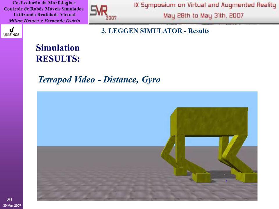 Co-Evolução da Morfologia e Controle de Robôs Móveis Simulados Utilizando Realidade Virtual Milton Heinen e Fernando Osório 30 May 2007 20 3.