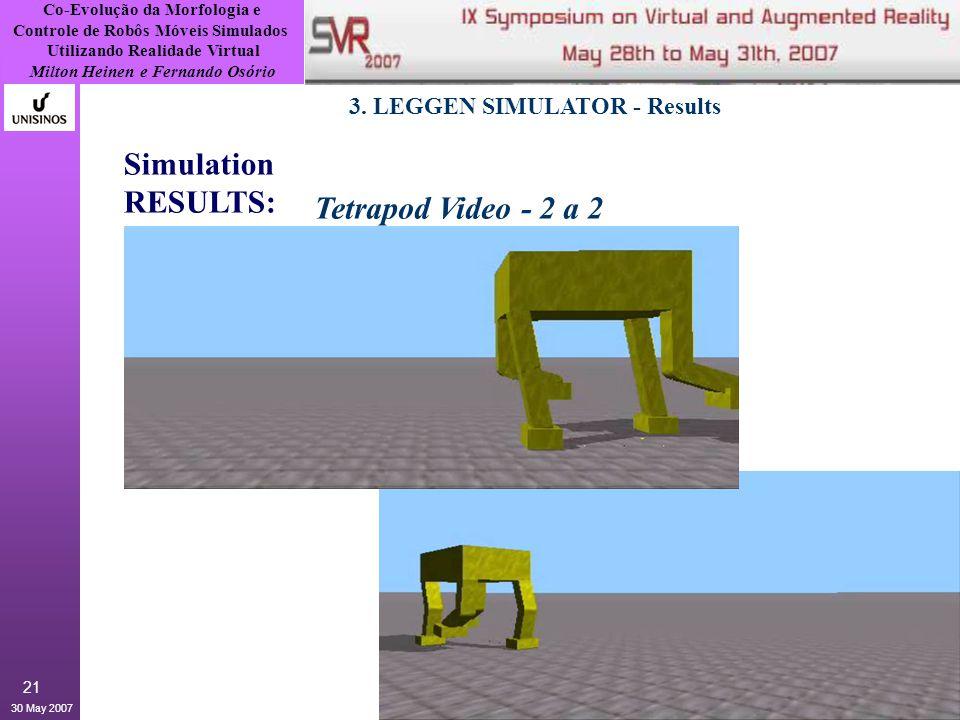 Co-Evolução da Morfologia e Controle de Robôs Móveis Simulados Utilizando Realidade Virtual Milton Heinen e Fernando Osório 30 May 2007 21 3.