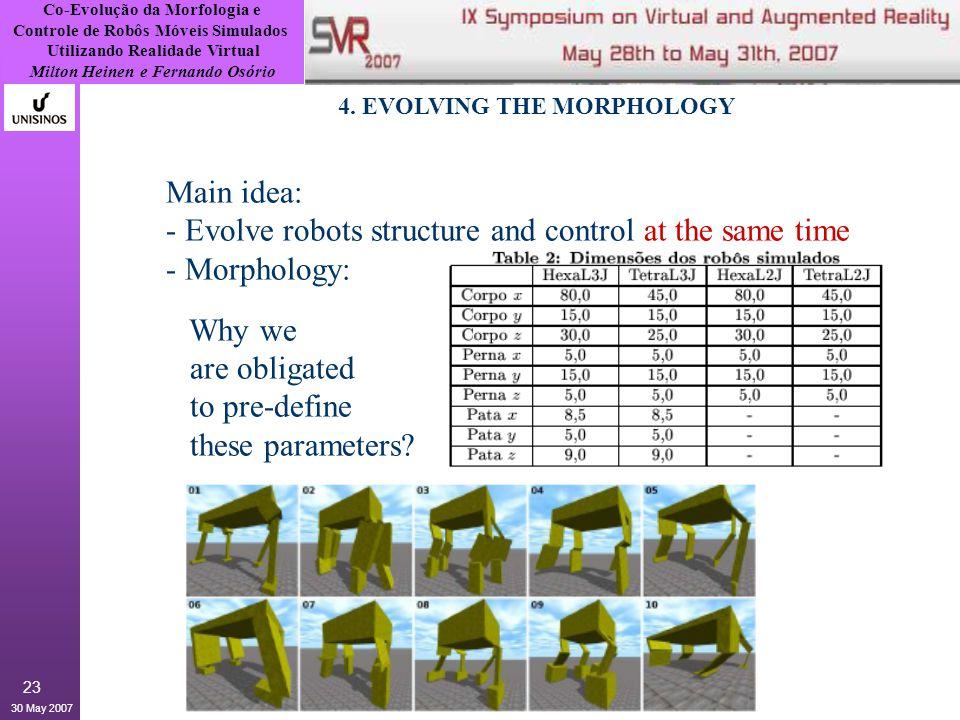 Co-Evolução da Morfologia e Controle de Robôs Móveis Simulados Utilizando Realidade Virtual Milton Heinen e Fernando Osório 30 May 2007 23 4.