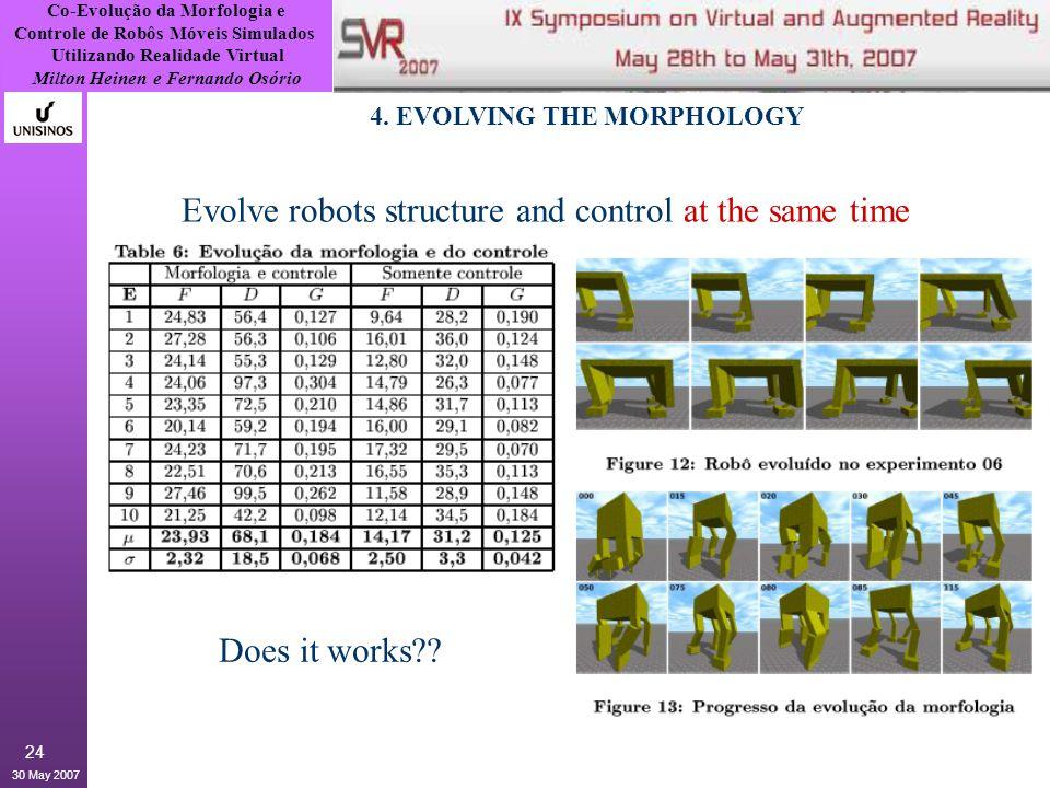 Co-Evolução da Morfologia e Controle de Robôs Móveis Simulados Utilizando Realidade Virtual Milton Heinen e Fernando Osório 30 May 2007 24 4.