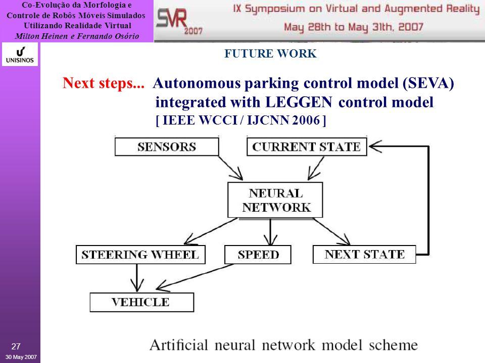 Co-Evolução da Morfologia e Controle de Robôs Móveis Simulados Utilizando Realidade Virtual Milton Heinen e Fernando Osório 30 May 2007 27 FUTURE WORK Next steps...