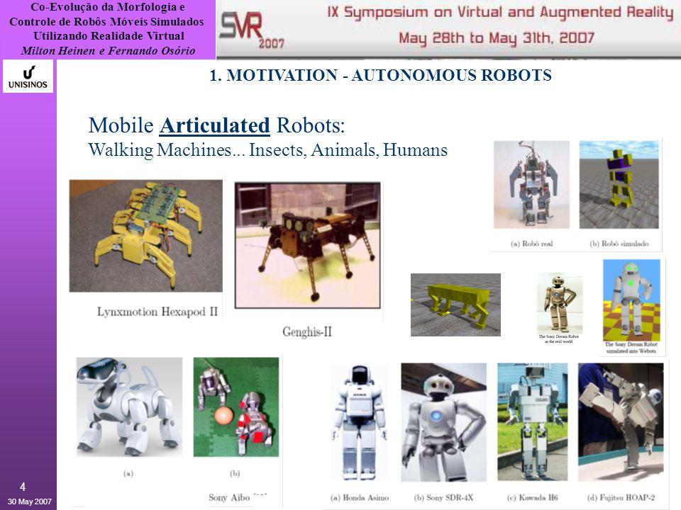 Co-Evolução da Morfologia e Controle de Robôs Móveis Simulados Utilizando Realidade Virtual Milton Heinen e Fernando Osório 30 May 2007 15 3.