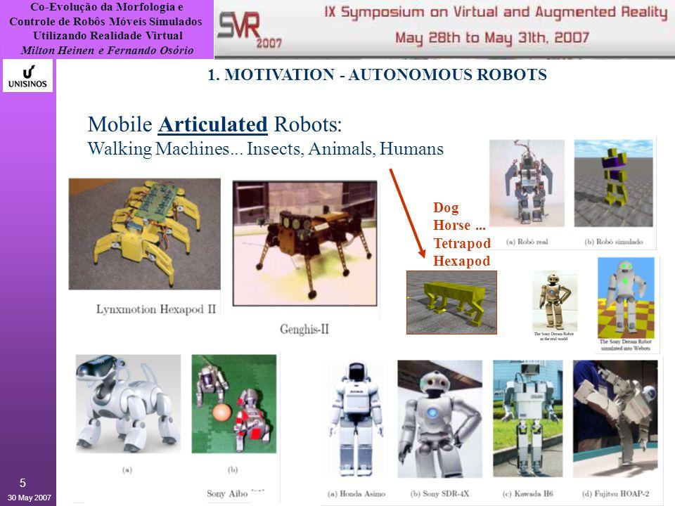 Co-Evolução da Morfologia e Controle de Robôs Móveis Simulados Utilizando Realidade Virtual Milton Heinen e Fernando Osório 30 May 2007 5 Mobile Articulated Robots: Walking Machines...
