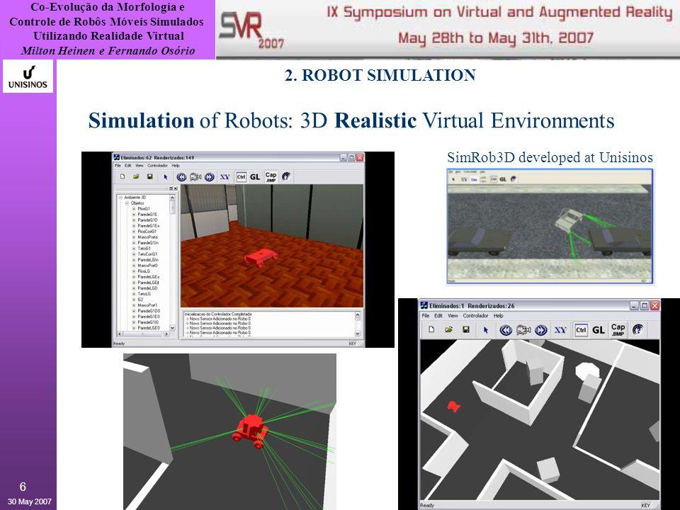 Co-Evolução da Morfologia e Controle de Robôs Móveis Simulados Utilizando Realidade Virtual Milton Heinen e Fernando Osório 30 May 2007 7 2.